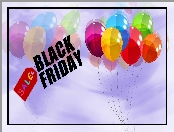 Napis, Grafika, Black Friday, Balony