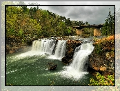 Stany Zjednoczone, Rzeka, Las, Stan Alabama, Little River Canyon National Preserve, Most, Wodospad Little River Falls