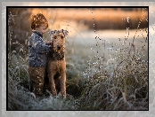 Trawy, Pies, Airedale terrier, Chłopiec, Trzciny